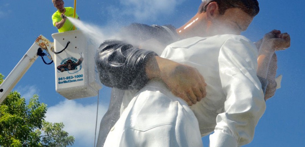 Pressure washers clean up Unconditional Surrender